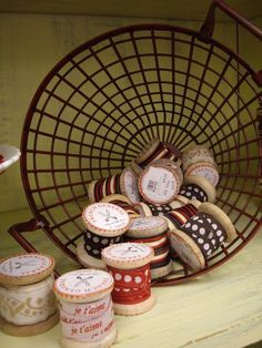 Store ribbon on old wooded spools - great for storing small amounts of ribbon and specialty ribbbon