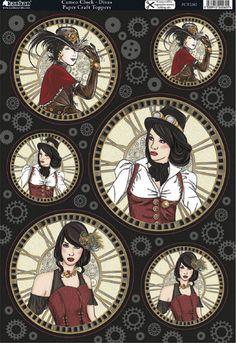 Kanban Steam Punk Time Machine foiled & die cut toppers - Cameo Clock Divas