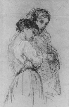 The Thorpe Sisters, William Morris Hunt,  Conté crayon and white chalk on blue laid paper, 10 13/16 x 7 in. (27.5 x 17.8 cm)