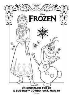 Anna and Olaf Coloring Page - Frozen Movie Night - Disney Movie Night - Family Movie Night