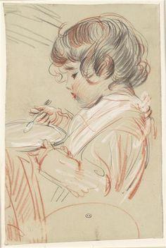 """""""Paulette mangeant son potage"""" de Paul César Helleu (1859-1927). Bayonne, musée Bonnat-Helleu - Photo (C) RMN-Grand Palais / René-Gabriel Ojéda"""