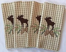 MOOSE PLACEMATS CABIN LODGE RUSTIC ADIRONDACK PINECONE HOUNDSTOOTH, NWT