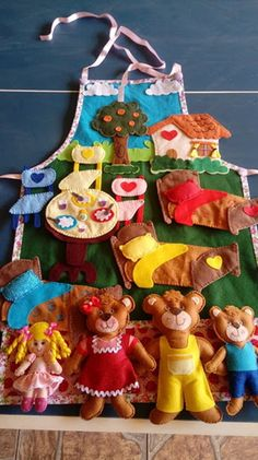 Animal Activities For Kids, Literacy Activities, Infant Activities, Quiet Book Templates, Quiet Book Patterns, Kids Crafts, Felt Crafts, Fairy Tale Activities, Goldilocks And The Three Bears