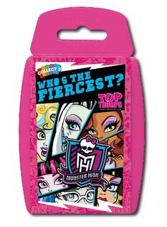 Please join us for a round of a-claws as we introduce these fang-tastic Monster High Top Trumps! Grab your hall pass and follow us into the horrors of high school where you'll meet Draculaura, Frankie Stein, and plenty more. Who's the freakiest, who's got the most killer style... and who's the beast friend of all?  http://shop.winningmoves.co.uk/products/great-new-games/5036905020855-top-trumps-monsters-high.html