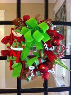 Christmas Elf Deco Mesh Wreath