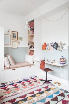 A colorful rug might be the pop of color a work nook needs to get the creativity flowing.