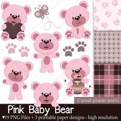 Osito rosa  Set de Clip Art y Papeles por pixelpaperprints en Etsy, $5.00