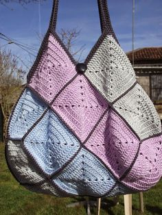 Explications sac crochet 22 carrés