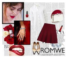 """ROMWE - Elastic-Waist-Flare-Maroon-Skirt"" by fashionaddict-il ❤ liked on Polyvore featuring Whiteley, Oris, rag & bone, NARS Cosmetics, Jimmy Choo, Miu Miu, OPI, Torrid, Ray-Ban and women's clothing"
