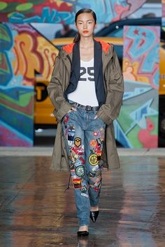DKNY Spring 2014: long, slouchy coat & patched jeans