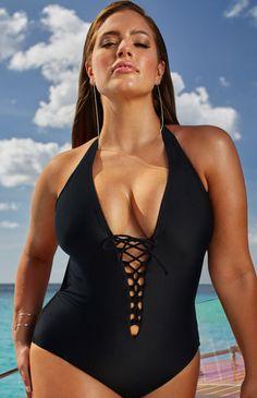 82062c9412 Plus Size Swimsuit - Ashley Graham x swimsuitsforall Secret Agent Black  Swimsuit women s swimwear designer