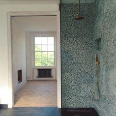 Terrazzo shower by Heirloom Studio - Green terrazzo.Terrazzo and brass. Bathroom Design Luxury, Modern Bathroom, Master Bath Shower, Tadelakt, Terrazzo Flooring, Bathroom Toilets, Shower Panels, Bathroom Inspiration, Bathroom Ideas
