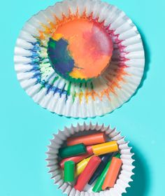 Crafty Crayon Molds--Fill foil cupcake liners about two-thirds full with unwrapped crayon stubs in assorted colors, place in a muffin tin, and bake at                       275 degrees until melted (about 10 minutes). Then freeze for cool colorers with zigzag edges.