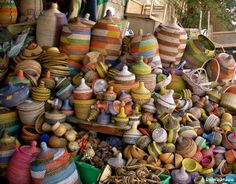 Colourful handmade baskets at a store in Dakar, Sénégal