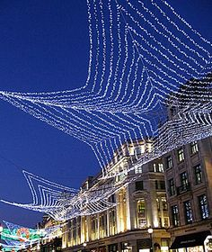 Beautiful Christmas Lights Around the World: London. stretching across the street, what a great idea!
