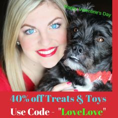 "Pet Hangout is offering 40% off all Treats & Toys for Valentine's Day!!  Use promocode ""LOVELOVE"" at checkout.   dogs, cats, dog treats, cat treats, dog toys, cat toys, coupon code, valentine's special"