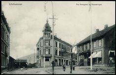 Oppland fylke Lillehammer. Fra Kirkegaten og Nymosvingen.  utg Lillehammer kunstforlag tidlig 1900-tall