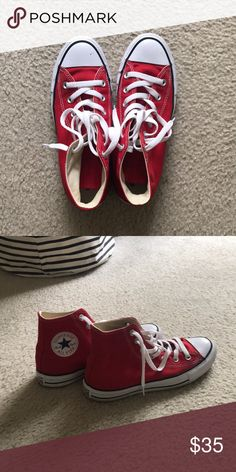 c856effd95cfc5 Converse Chuck Taylor All Star High Sneakers Color  Red Size  Women s 8  Worn three
