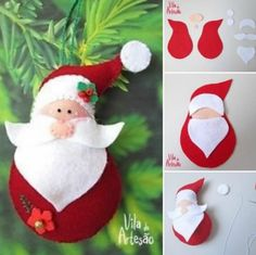 DIY Santa Claus Sewing Patterns and Ideas ❗️Santas don't have to be red, I'm trying blues and silvers along with pastels or even bright colors Felt Christmas Decorations, Christmas Ornaments To Make, Santa Ornaments, Christmas Sewing, Christmas Pillow, Homemade Christmas, Christmas Projects, Felt Crafts, Holiday Crafts