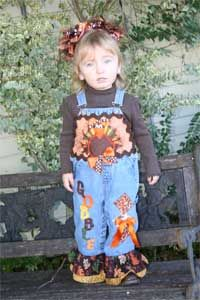 Girls Boutique Applique Thanksgiving Turkey Decorated Overalls