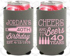 40th Birthday, 40th Neoprene Birthday, Cheers to 40 Years, Cheers and Beers, Neoprene Birthday Can Coolers (20002)