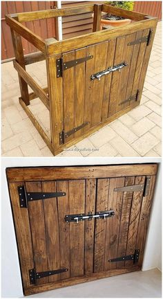 Fresh ideas for recycling old wood pallets - .- Fresh ideas for recycling old wood pallets – # … wood pallets - Wood Pallet Recycling, Pallet Crafts, Diy Pallet Projects, Pallet Ideas, Welding Projects, Armoire Palettes, Palette Diy, Pallet Cabinet, Pallet Kitchen Cabinets