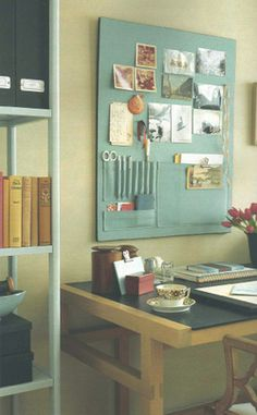 Fabric Pockets on an Upholstered Pin Board for Orderly Office Supply Storage on the Wall
