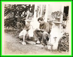 Robert with his daughter Petrine, at the cottage the family was staying at in Bray, Ireland, while he was filming, The Night Fighters there in 1960