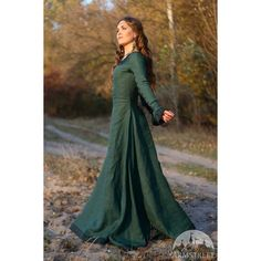 Discounted Price Fixed Size Ready to Ship in Stock Medieval... ($139) ❤ liked on Polyvore featuring dresses, green and women's clothing