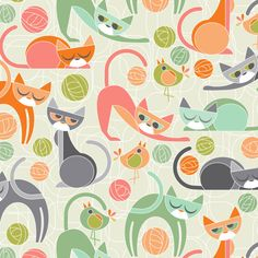Spoonflower Cubist Cat Design Challenge 2015 Congratulations to Julie Lynch who took the top prize with her Moody Cubist Cats design by cjldesigns and to the rest of the designers in the top Cat Pattern, Pattern Art, Pattern Images, Textile Patterns, Print Patterns, Textiles, Cat Fabric, Fabric Shop, Spoonflower Fabric