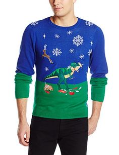 Alex Stevens Men's Dinosaur Reindeer Buffet Ugly Christmas Sweater