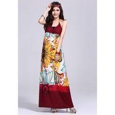 Greek Style V-Neck Halter Design Floral Print Maxi Dress For Women