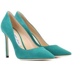 Jimmy Choo Romy 100 Suede Pumps ($645) ❤ liked on Polyvore featuring shoes, pumps, heels, green, suede pumps, jimmy choo, green shoes, green heeled shoes and green pumps