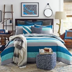 Tommy Hilfiger Malibu Comforter Set-Classic wide stripes in blue and gray are dressed up with thin stripes of turquoise from @wayfair