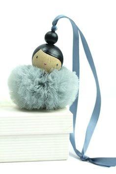 wwwlespoisplumesfr creation made in france Ballerina Ornaments, Pom Pom Crafts, Creation Deco, Christmas Crafts, Christmas Ornaments, Clothespin Dolls, Ideias Diy, Wooden Dolls, Fairy Dolls