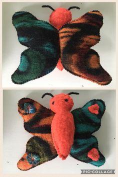 Vlinder gemaakt van oude / retro wollen dekens  # old woolen blankets