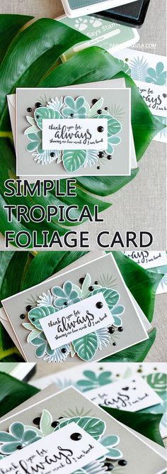 Simple tropical foliage card using Simon Says Stamp Tropical Leaves and Loving Heart stamps. Leaf Cards, Stampin Up Catalog, Idee Diy, Beautiful Handmade Cards, Scrapbook Cards, Scrapbooking, Card Tags, Cool Cards, Flower Cards