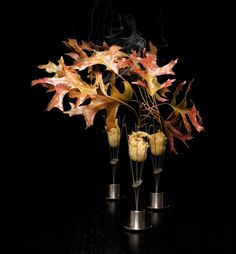 A typical 23-course meal at Chicago's Alinea restaurant might include olive oil lollypops, sweet potatoes skewered by smoking cinnamon sticks, strips of bacon hanging from a stainless steel bow, and pheasant tempura-fried with apple cider, impaled on a flaming oak leaf.