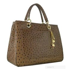 www.luxuriegoods.com Leather Chantal Tote Bag. Gorgeous Exotic Ostrich Leather Handbag