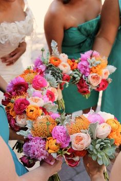 Wedding bouquet- pink, purple, yellow chrysanthemum floral mix- bridesmaid bouquets - hand-tied bouquet style