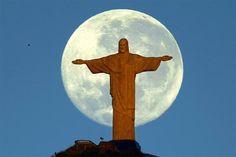 Christ, The Redeemer (Rio de Janeiro-Brazil) Cristo Corcovado, Beatles, Visit Brazil, Christ The Redeemer, Jesus Christ, Beautiful Moon, World Traveler, Amazing Destinations, Night Skies