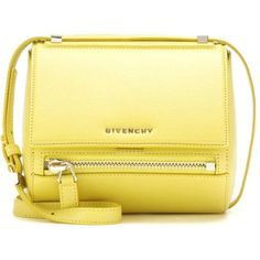 Givenchy Pandora Box Mini Leather Shoulder Bag (£1,235) ❤ liked on Polyvore featuring bags, handbags, shoulder bags, purses, bolsas, сумки, yellow, givenchy handbags, leather shoulder handbags and yellow leather handbag