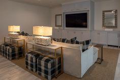 Benjamin-Moore-Beacon-Gray Cabinet Paint Colors, Kitchen Paint Colors, Antique Mirror Tiles, Basement Painting, White Coverlet, Quartzite Countertops, Basement Furniture, Artistic Tile, Dream Beach Houses