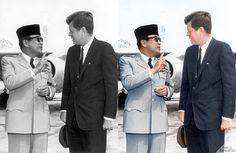 """""""Dr. Ahmed Soekarno meet John F. Kennedy (Washington, 1961)""""  Photographers: Onbekend Source: http://www.gahetna.nl/en/collectie/afbeeldingen/fotocollectie/zoeken/weergave/detail/start/78/tstart/0/q/zoekterm/soekarno/q/commentaar/1"""