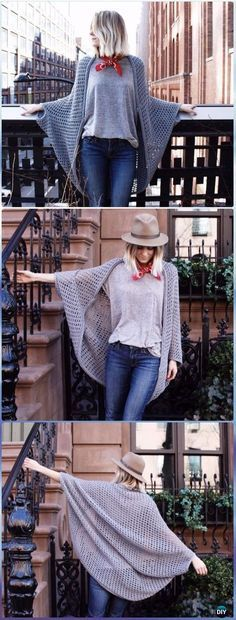 Crochet Chelsea Cape Cocoon Free Pattern – Crochet Women Shrug Cardigan Free Pattern See other ideas and pictures from the category menu…. Crochet Jacket, Crochet Cardigan, Crochet Scarves, Crochet Shawl, Crochet Clothes, Crochet Shrugs, Crochet Cape, Crochet Cocoon, Diy Crochet