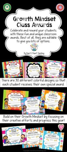 These Growth Mindset Class Awards are perfect for the end of the year! Thus pack includes 30 different colorful designs with and without clipart. Plus they are EDITABLE so you can personalize them too!