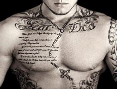 Chest Tattoo with a Celtic Cross Chain, Quote and Words 'Fear God'