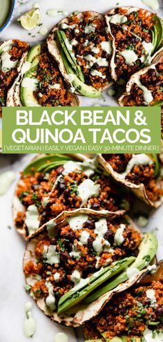quinoa & black bean tacos (with cilantro lime crema!) - meet your new favorite vegetarian quinoa & black bean tacos recipe! vegetarian (vegan-friendly), 30 minutes, and made with pantry staples! Vegetarian Tacos, Tasty Vegetarian Recipes, Healthy Recipes, Paleo, Vegan Tacos, Tofu Recipes, Savoury Recipes, Healthy Dishes, Delicious Recipes