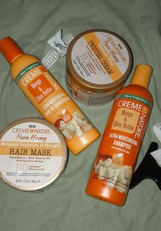 Do you guys mix products from different lines? I washed my hair a week ago and decided to use majority of the Creme of Nature products I had in my stash. I also realized I've never … Natural Hair Treatments, Skin Treatments, Natural Make Up, Natural Skin Care, Natural Curls, Damp Hair Styles, Natural Hair Styles, Type 4 Hair, Brittle Hair