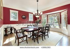 stock photo : Dining room with red walls